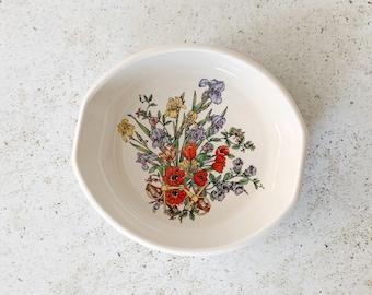 Vintage Dish   GUCCI Floral Equestrian GG Logo Monogram Porcelain Bowl Trinket Catch-all Dish 80's