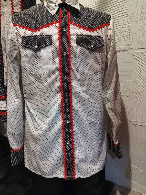 No tags His and hers 1970s western style square dance matching set homemade red,black and white such fun