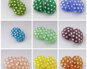 SRA Lampwork Beads Polka Dot Beads Handmade Lampwork SeaGlass Beads Etched Pastel Earring Pair Blue Green Purple Yellow Heather Behrendt
