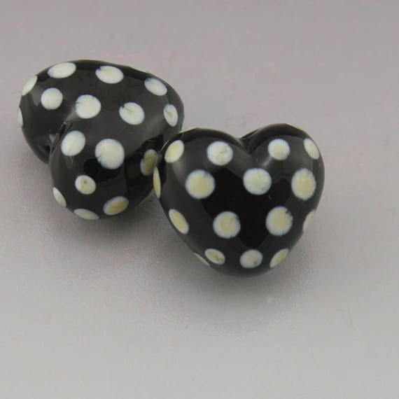 Handmade Glass Lampwork Beads Black Diamond Clear Etched With Black Polka Dots