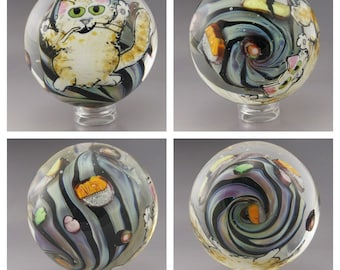 SRA Lampwork Glass MIB Collectible Art Glass Marble Cat Eating Sushi Kitty Animal Handmade Marble Heather Behrendt m123