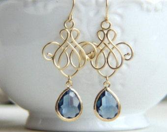 Silver Blue Wedding Blue Victorian Dangle Earring Bridesmaid Gift Blue Chandelier Earrings Romantic Blue Earrings Venetian Drop Earrings