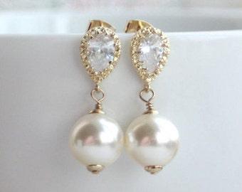 Wedding Earrings, Large Ivory Pearls Earrings Gold Wedding earrings Bridal Bridesmaid Gift White Cubic Zirconia Ear Post Earrings Big Pearls