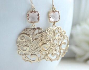 Peach Earrings, Peach Gold Paisley Earrings, Blush Champagne Peach Earrings, Bridesmaid Gift, Blush Champagne and Gold. Peach Gold Wedding.