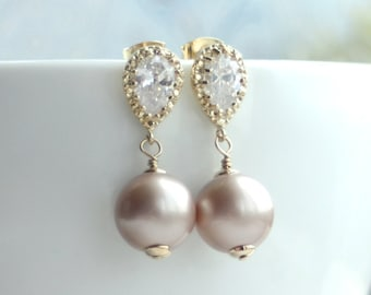Blush Champagne Almond Swarovski Pearls and Gold Cubic Zirconia Ear Post Earrings. Pearl Wedding Bridal Almond Champagne Bridesmaid Gift.