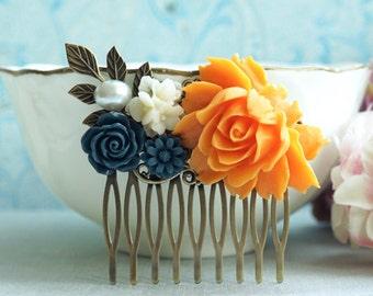 Orange Wedding Comb Navy Orange Floral Comb Orange Dark Blue Flower Hair Piece Orange Rose Comb Orange Fall Rustic Wedding Bridesmaid Gift