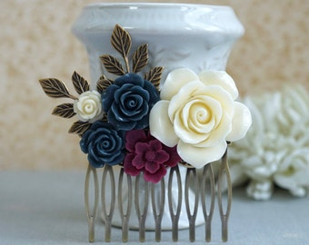 Maroon Navy Blue Wedding Hair Comb, Burgundy Red Navy Ivory shade Cream Floral Bridal Hair Comb, Rustic Vintage Hair Piece Bridesmaids Gifts