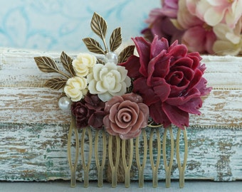 Burgundy Red Flower Large Comb Marsala Brown Large Hair Comb Ox Blood Wedding Comb Brown Maroon Deep Red Gold Leaf Branch Bridal Hair Comb