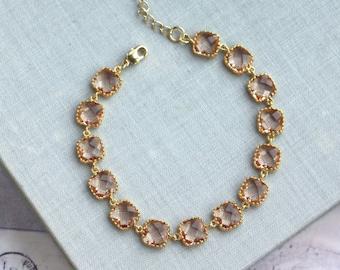 Bridal Jewelry Peach Wedding Bracelet Peach Champagne Bracelet Peach Bracelet, Bridesmaid Gift Peach and Gold Wedding Bridesmaids Bracelet