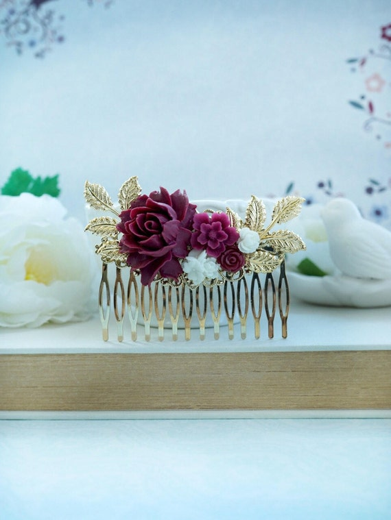 Burgundy red and white flower gold comb marsala red white etsy mightylinksfo