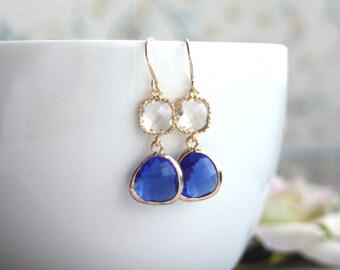 Wedding Earrings Cobalt Blue Glass Pear, Clear Glass Drop Earrings. Bridal Modern Everyday. Wedding. Bridesmaids Gifts. Cobalt Blue Wedding