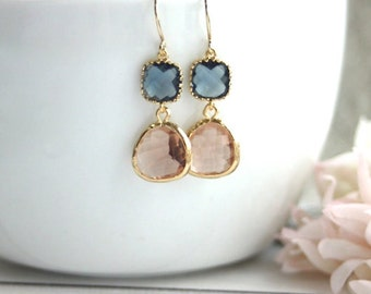Sapphire Blue, Navy Blue Peach Champagne Gold Glass Drops Dangle Earrings. Bridesmaids Gifts, Bridal Wedding Jewelry, Peach and Blue Wedding