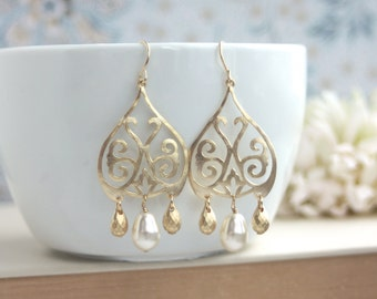 Gold Moroccan, Boho Filigree Ivory Pearls Chandelier Earrings. Gold Drop Earrings, Maid of Honor. Bridesmaids Gifts. Bridal Earring. Wedding