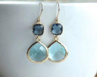 Bridal Blue Wedding Aquamarine Blue Sapphire Blue Dark Blue Dangle Earrings Something Blue Wedding Aqua Blue Wedding Blue Wedding Earrings