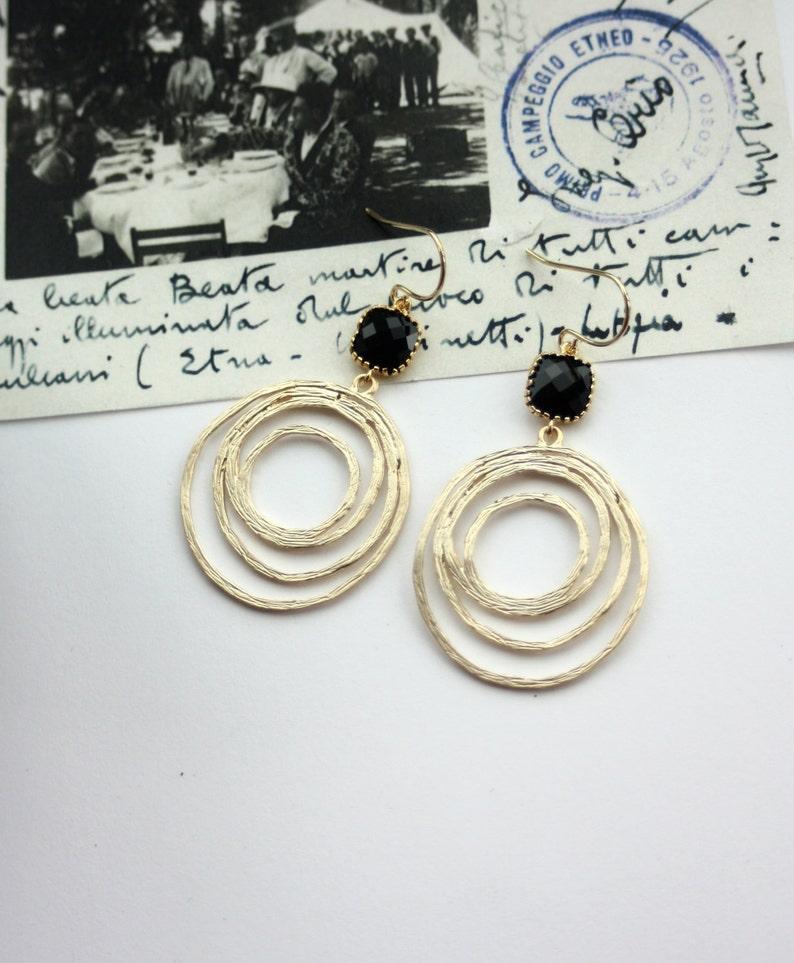 Gold and Black Earrings Gold Hoop Earrings Gold Circle Earrings Boho Chic Bohemian Loop dangle Earrings Black Glass Earrings Black Wedding