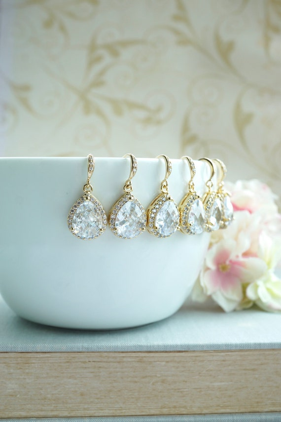 Gold Wedding Bridal Earrings LARGE Teardrop White Cubic