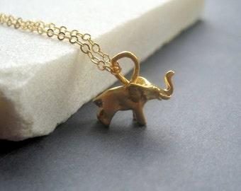 Gold Elephant Necklace - Tiny Elephant Necklace - Minimal Modern Necklace - Good Luck Necklace - Dainty Gold Necklace - Elephant Gift - Tiny