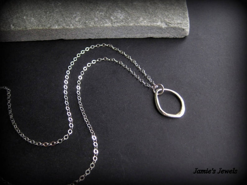 Simple Classic Sterling Silver Abstract Necklace Everyday Organic Sterling Silver Hoop Necklace Sterling Silver Modern Necklace