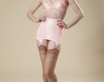 28186ccdb Pin-Up Girdle Garter Skirt Cotton Candy Pink Lacy Vintage Style Open Bottom