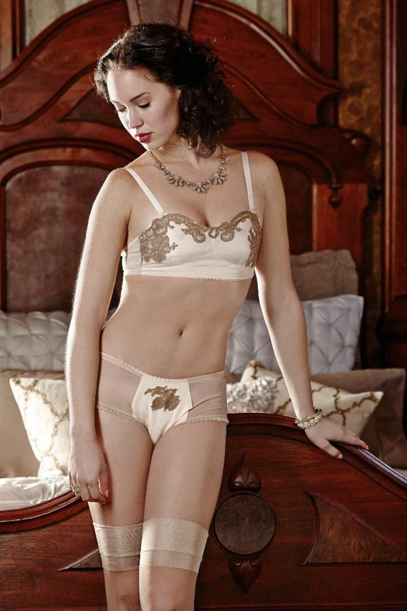 1920s Style Underwear, Lingerie, Nightgowns, Pajamas Art Nouveau Bralette Silk and Vintage Lace