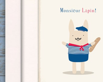 Wish you were here, Moving abroad gift, Study abroad gifts, Study abroad gift, French Print, Lapin, Monsieur, Baguette, Beret, Breton top