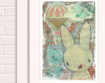 Woodland bunny print, Woodland creatures, Boho nursery, Rabbit prints, Bunny print, Rustic nursery decor, Woodland nursery, Woodland animal