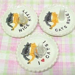 """Happy Cat Ring Holder Dish Jewelry Dish """"Cats Rule,"""" """"I Heart Cats,"""" """"Nice Kitty,"""" """"Meow's the Word."""" Black / Orange Cat, Personalize Dish"""