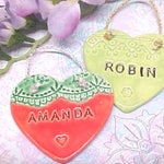 Personalized Name Pottery Heart Ornament   Valentine Gift   Children's Birthday Gift   Made to Order