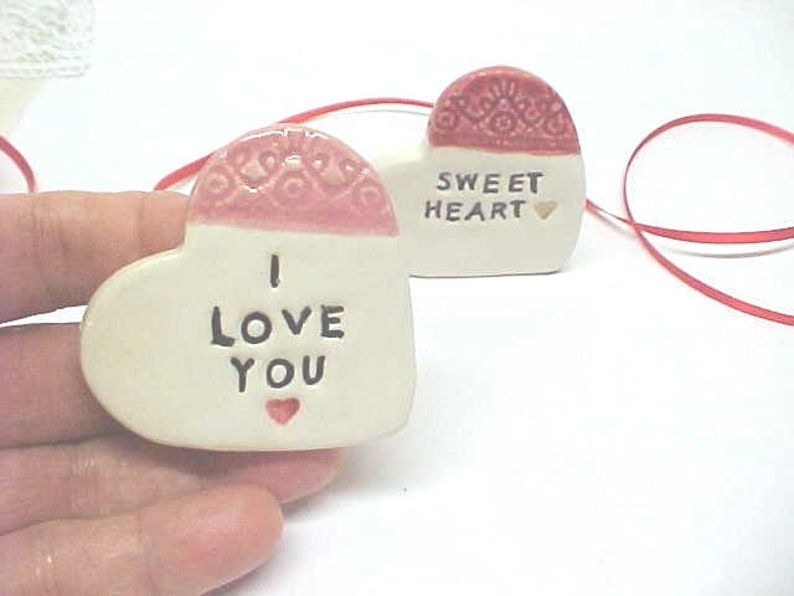 Pottery Heart with Sweet Words Stamped  Friend or Lover Gift I Love You