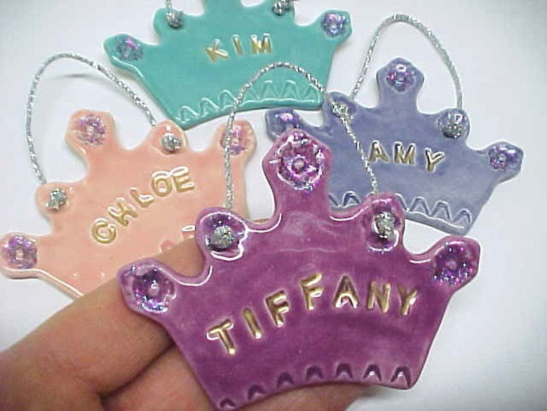 Glittery Princess Crown Ornament Personal Name Girly Gift Tiffany