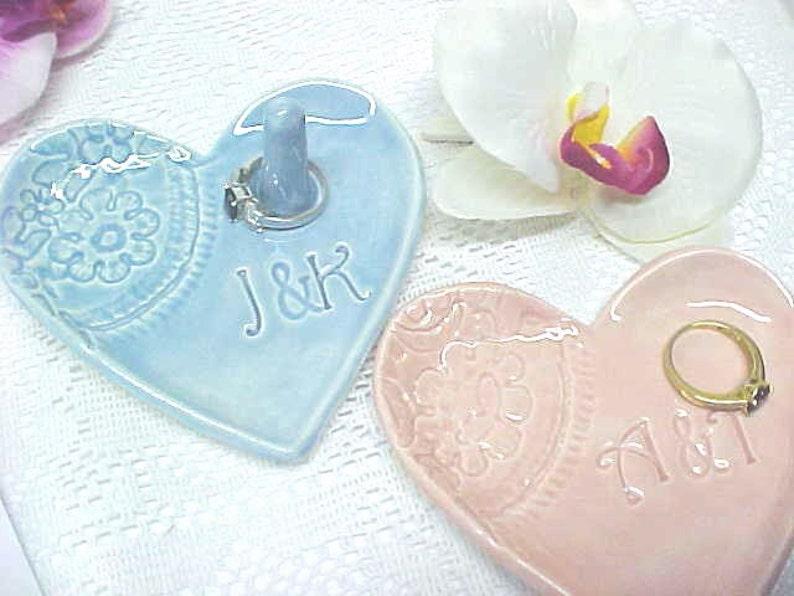 Engagement Ring Dish  Wedding Ring Holder  Ceramic Heart image 0
