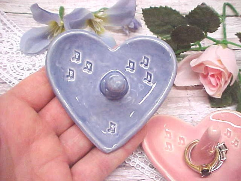 Jewelry Storage Lavender or Pink Chiffon Music Lover Gift Heart Shape Pottery Ring Holder Dish Wedding Ring Holder Stamped Eighth Notes