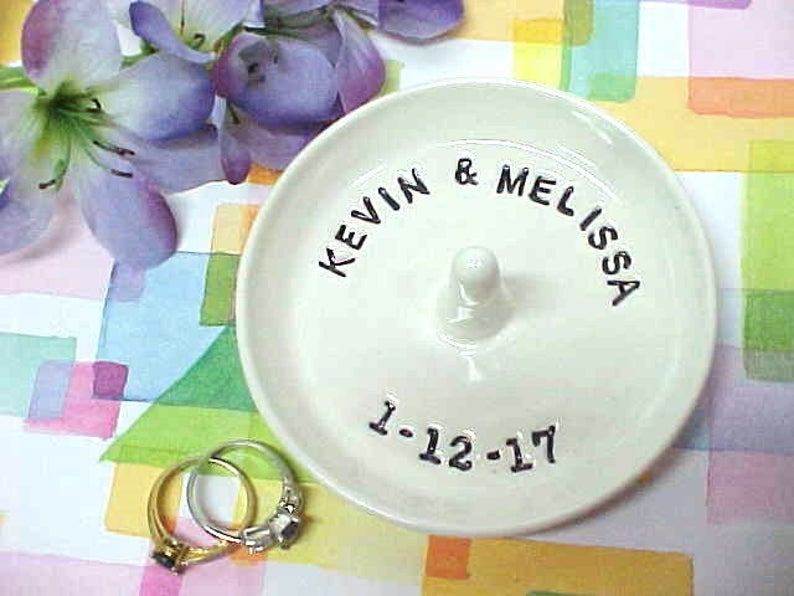 Personalized Ring Dish Custom Pottery I Said Yes Engagement Names & Date ONLY