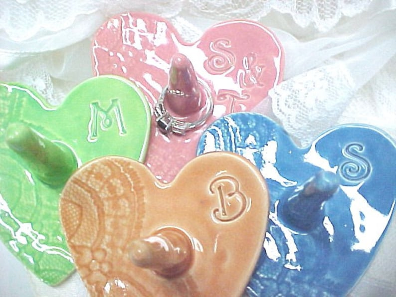 Heart Shape Pottery Ring Holder/ Monogram Initial/ CUSTOM image 0