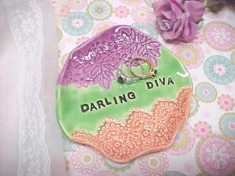 Colorful Trinket Dish / Darling Diva Stamped /Fuchsia Peach image 0