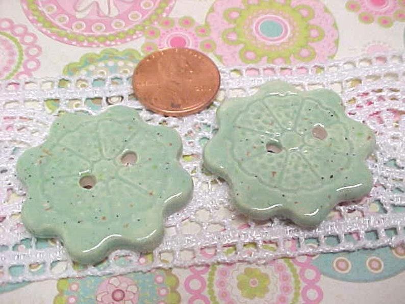 Seafoam Speckle Glazed 2 Pottery Buttons Cogwheel Design DIY image 0
