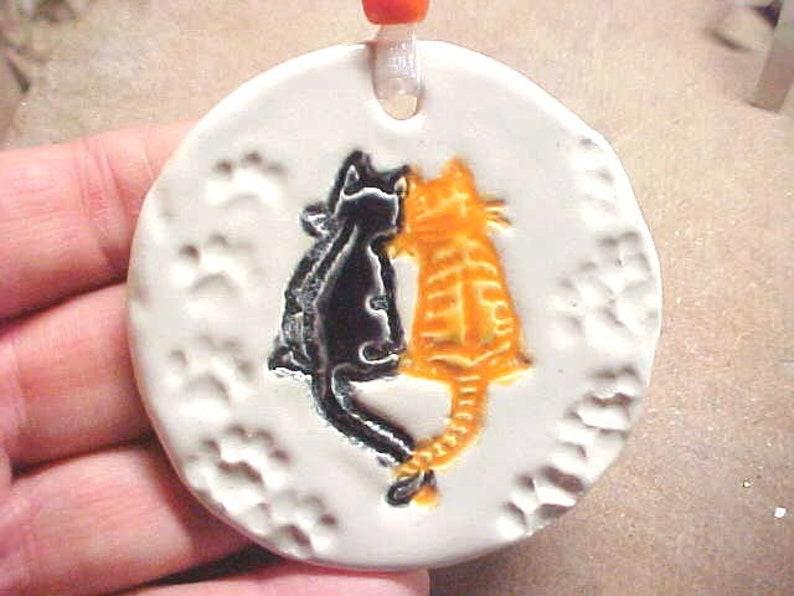 Cat Lover Pottery Ornament Black Cat Orange Kitty Glazed on image 0