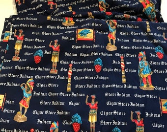 0c303692622 Cigar Store Indian Fabric Conversational Print Cotton 8 Yards