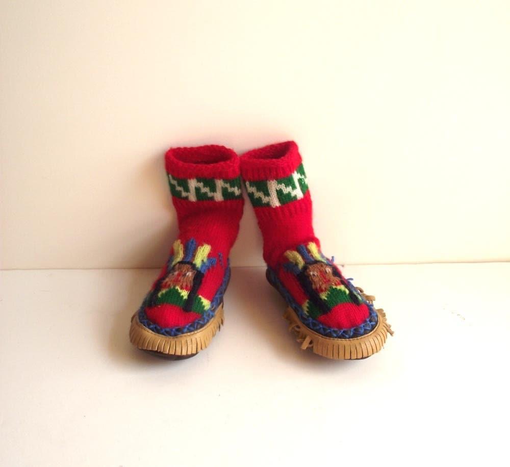 c3e765c39d560 50s Ripon Kids Slipper Socks / Vintage Kids Moccasins / Wool Knit Slippers  / Childrens Sock Mocs