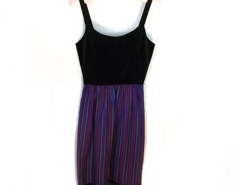70s Dress / Vintage Lanz Original Velvet n Polyester Sleeveless Dress 22 Inch Waist