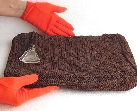 50s Clutch Vintage Crochet Brown Clutch M.E. Produ