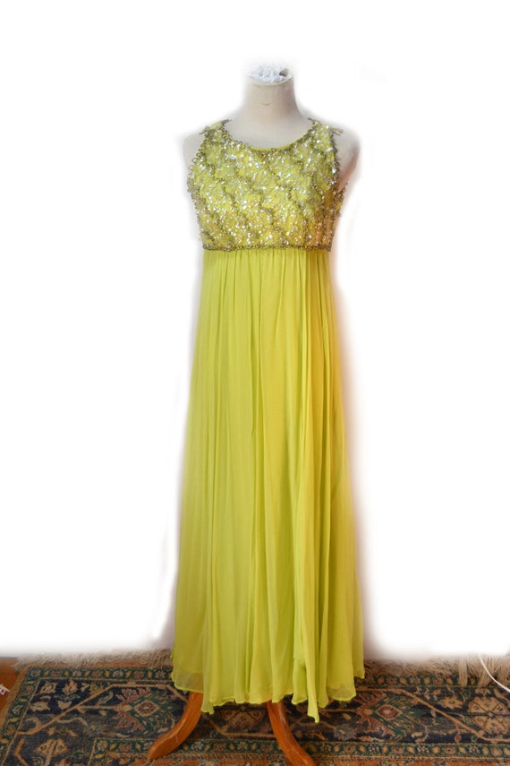 50s Chartreuse Gown Beaded Chiffon Gown Size S