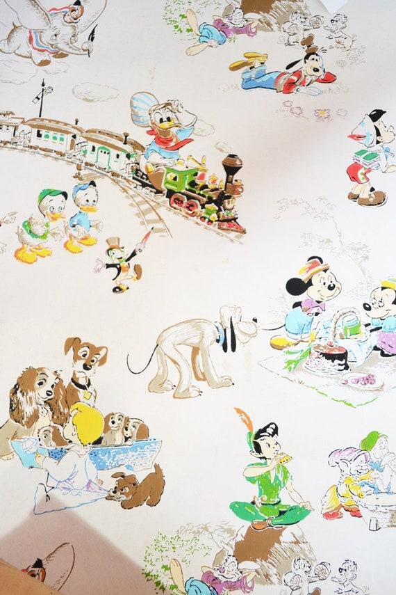 Artículos Similares A Vintage 50s Disney Wallpaper En Etsy