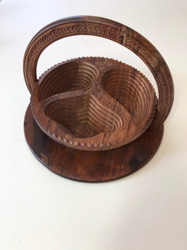 Collapsible Wood Bowl Indian Wooden Bowl Basket Boho Decor