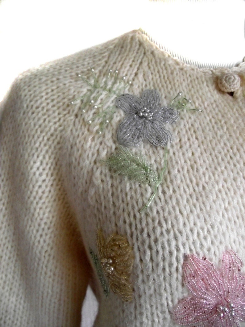 50s Sweater Cardigan  Vintage Evan Picone Beaded Sweater  Wool Mohair  Sz M