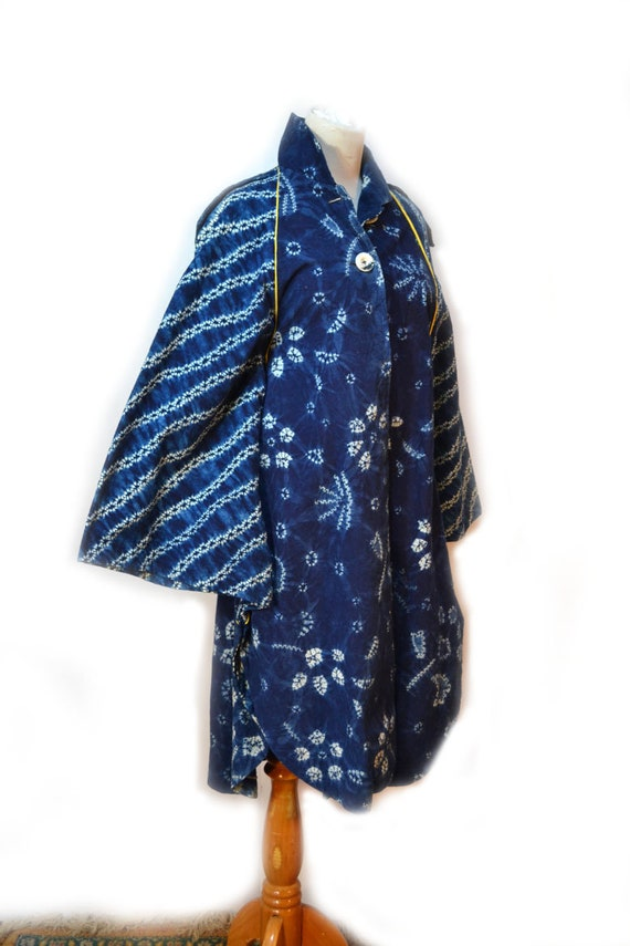 Shibori Coat Cape Blue Shibori Tie Dye Coat