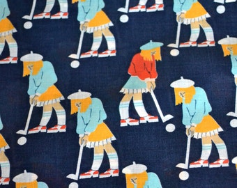 Girl Golf Fabric Conversational Remnant 40 x 74
