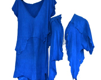 SALE Deerskin Dress Buckskin 80s Cobalt Blue Suede Dress Jacket Sz XS