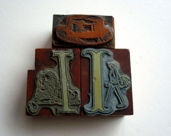 3 Letterpress Graphics Letters with Graphic Printing Blocks