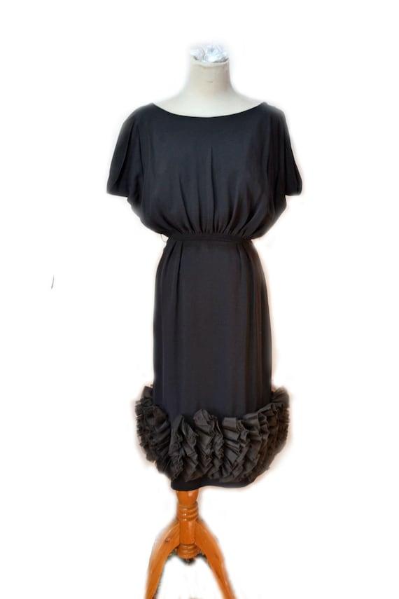 50s Black Cocktail Dress Jr Theme Wiggle Dress Bom